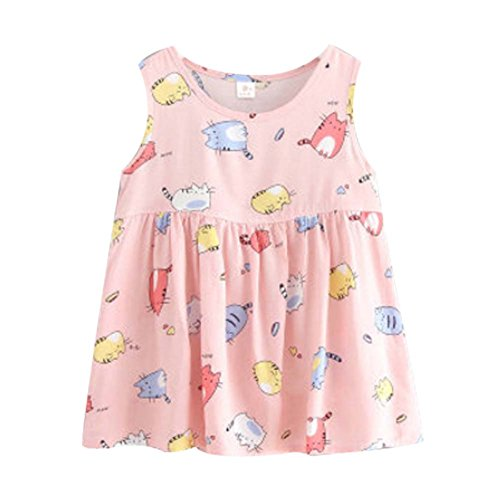 Koala Superstore [S] Kids' Pajama Home Nightdress Sleeveless Cotton Dress Vest Skirt for Girls by Koala Superstore