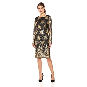 226fdf647fc Nicole Miller New York Women s Long Sleeve Metallic Lace Fitted Cocktail  Dress