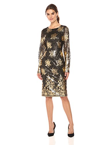 Nicole Miller New York Women's Long Sleeve Metallic Lace Fitted Cocktail Dress, Black/Gold, 8