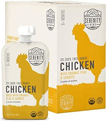 Serenity Kids Baby Food, Free Range Chicken with Organic Peas and Carrots, For 6+ Months, 3.5 Ounce Pouch (6 Pack)