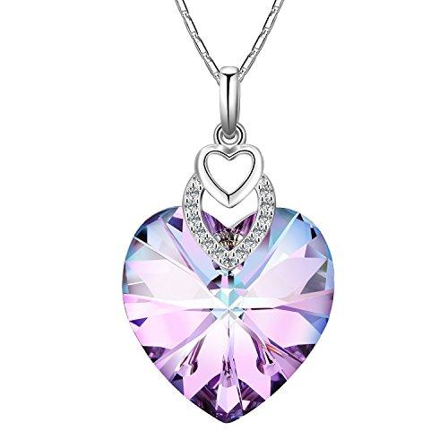 Adan Banfi Women Purple Blue Heart Pendant Chain Necklace Jewelry with Austrian (Gemstone Heart Necklace)