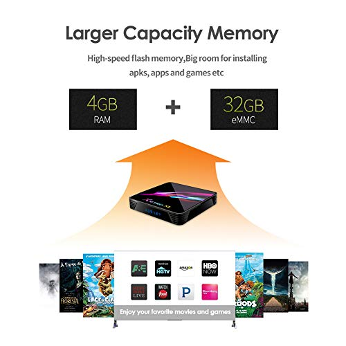 Android 9.0 TV Box, YAGALA X3 Android Box 4GB DDR3 32GB eMMC Amlogic S905X3 Quad-core 64bit Cortex-A55 2.4GHz+5GHz Dual Band WiFi Bluetooth 4.1 3D 8K UHD H.265 USB 3.0 1000M LAN Ethernet