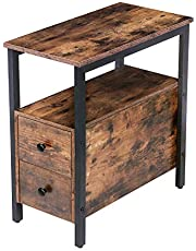 HOOBRO End Table, Chairside Table with 2 Drawer and Open Storage Shelf, Narrow Nightstand for Small Spaces, Stable and Sturdy Construction, Wood Look Accent Furniture, BF54BZ01