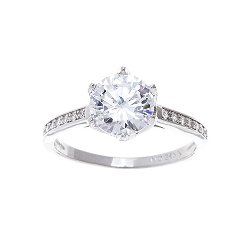 LESA MICHELE Womans Round Cubic Zirconia 6 Prong Solitaire Plus Engagement Ring for Women in 925 Sterling Silver (Size 8) ()
