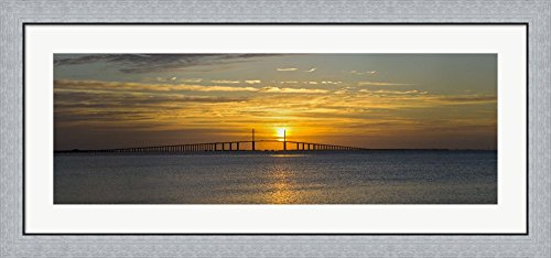 Sunrise over Sunshine Skyway Bridge, Tampa Bay, Florida, USA by Panoramic Images Framed Art Print Wall Picture, Flat Silver Frame, 44 x 20 inches - Sunshine Skyway Bridge
