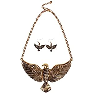 QIYUN.Z (TM) Gold Silver Soaring Eagle Bird Pendant Chain Bib Necklace Dangle Earring Set