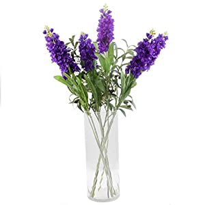 "famibay Artificial Silk Hyacinth Flowers Pack of 6 Fake Hyacinth Flowers and Leaves with Plastic Stem for Home Hotel Wedding Party Garden Floral Decoration 33.5"" High Purple 2"