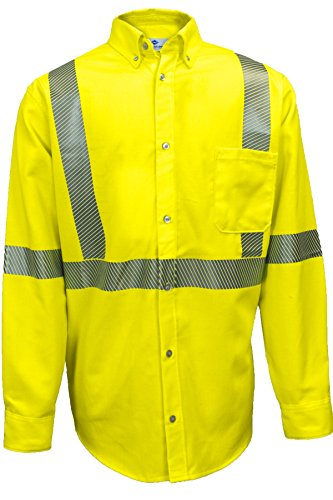 National Safety Apparel SHRTD3C33XRG FR UltraSoft Hi Vis Class 3 Work Shirt, 3X-Large, Fluorescent Yellow by National Safety Apparel Inc