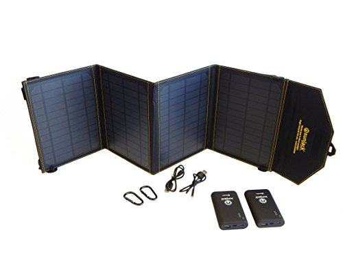SunJack 20W Solar Charger + 2x10000mAh QC 3.0 Power Banks - Portable Solar Panel with USB for Cell Phones, iPad Battery, Backpacking, Camping, Hiking