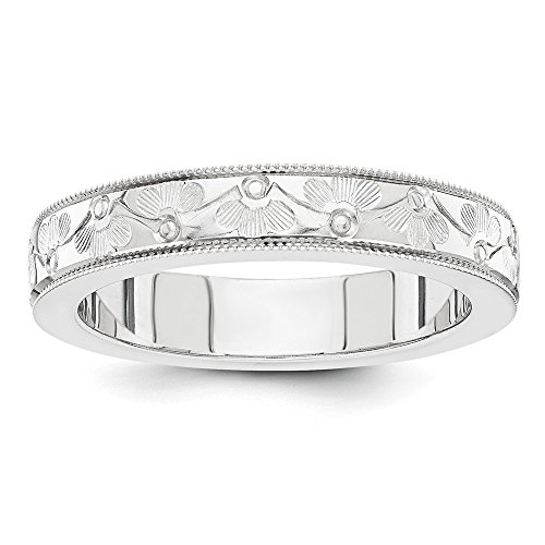 Roy Rose Jewelry 14K White Gold 4mm Fancy Etched Design Wedding Band Ring Size 5 (Design Etched White Gold)