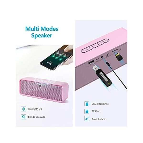 Enceinte Bluetooth 5.0 Portable, Axloie Macaron Haut-Parleur sans Fil HiFi Stéréo avec Microphone Mains Libres Entrée AUX/Clé USB/Carte TF 10 Heures Autonomie pour iOS Android Tablettes etc -Rose 3