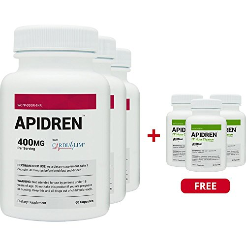 Apidren 3 Pack & 3 Free Apidren 72 Cleanse Combo Pack - Best Diet Pill for Healthy Weight Loss and Detox Cleanse