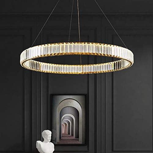 Modern Crystal Chandelier LED Ring Pendant Lighting Adjustable Hanging Ceiling Light
