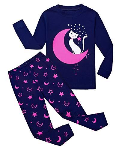 Garsumiss Girls Pajamas Owl Sleepwear Toddler Clothes Cotton Little Kids Pjs (5 Years, Purple/Cat) by Garsumiss