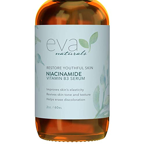Niacinamide 5% Serum by Eva Naturals (2 oz) - Vitamin B3 Anti-Aging Skin Moisturizer and Reduces Appearance of Wrinkles, Lines Diminishes Acne Breakouts, Hyperpigmentation, Dark Spot Remover for Face ()