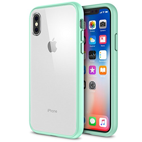 Maxboost iPhone X Case, HyperPro Hybrid Clear Case with GXD GEL [Drop Protection] / Premium Clarity for Apple iPhone X / iPhone 10 2017 [Reinforced Frame] TPU Bumper + Hard PC Back Cover -Mint/Orange