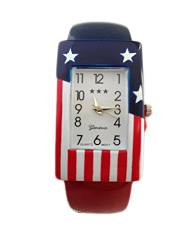 Womens USA American Flag United States America Watch Wristwatch One Size Analog (Watch Ladies White State)