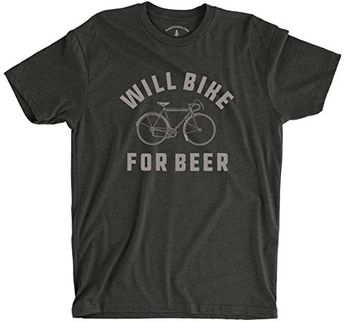 Will Bike for Beer | Funny T-Shirt for Brew and Bicycle Lovers | Great Gift for Hop Heads, Bikers, Craft Beer Drinkers, Men, and Women (X-Large) Charcoal Gray