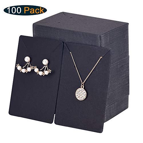 Xpurc 100 Set Kraft Paper Display Earring Cards with 100 Pcs Self-Seal Bags for Jewelry, Earring and Necklace, Ear Studs Holder Blank Paper Tags for DIY, 3.5