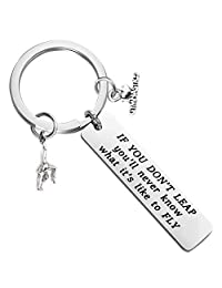 Gymnast Gifts Gymnastics Keychain Girls Gymnastics Jewelry Inspirational Gift for Gymnast If You Don't Leap You'll Never Know What It is Like to Fly