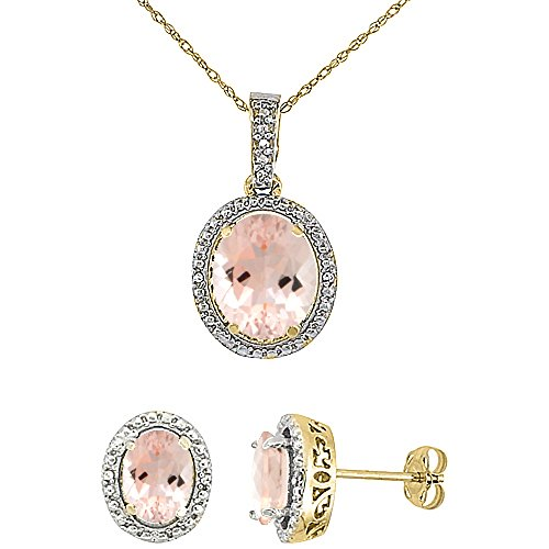 10K Yellow Gold 0.1 Cttw Diamond Natural Morganite Oval 7x5mm Earrings & 10x8mm Pendant Set