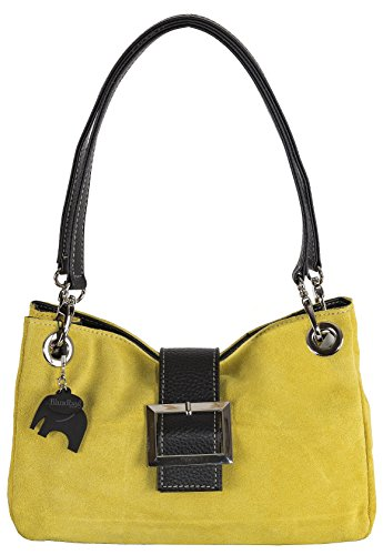 Donne Borsa in pelle camoscio piccola italiana con finiture finta - comprende una borsa di marca deposito protettivo e un fascino 28 x 18 x 11 cm (LxAxP) Senape (P105) - nero assettare
