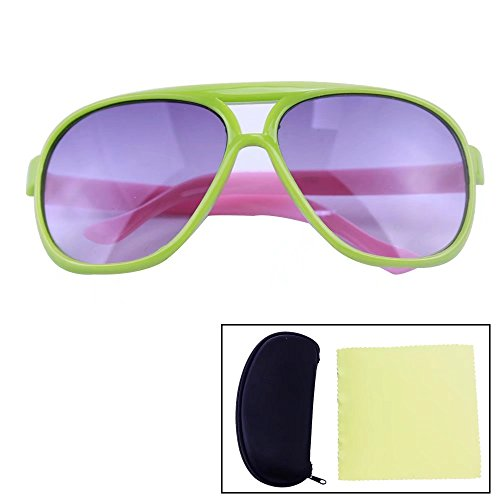 Sealive Cool Kids Sunglasses UV400 Protector Goggles Outdoor Travel Fashion Eyeglasses Eyewear(Green Frame Pink Leg),with Portable Zipper Eye Glasses Shell and Microfiber Cleaning Cloth(Random - Goggles Polarised