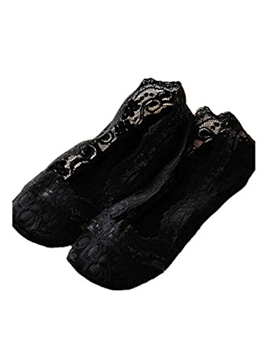 Sagton Femmes Été Doublure Invisible Chaussettes Coupe Basse Coton Dentelle Antidérapant Chaussettes Type Bateau Noir