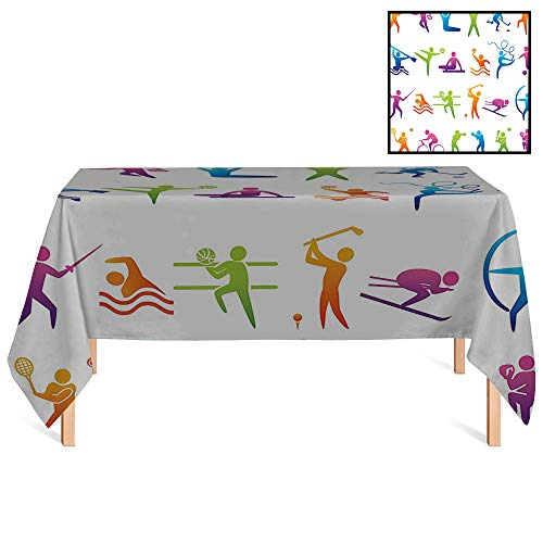 SATVSHOP Summer Outdoor Tablecloth /70x132 Rectangular,Sports Sports Icons with Stick Man Figures Boxing Power Professional Players Wellbeing Theme Olympics for Wedding/Banquet/Restaurant. ()