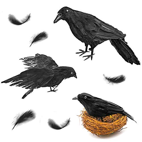 FuturePlusX Realistic Handmade Crow, 3PCS Artificial Halloween Feathered Black Crows Fly Black Birds Halloween Prop Décor for Outdoors Indoors Decoration for $<!--$22.99-->