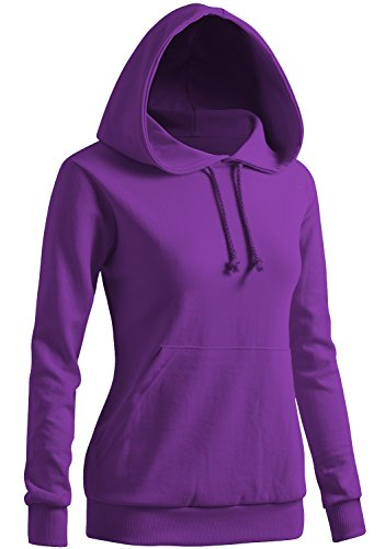 CLOVERY Women's Two-Tone Casual Raglan Pocket Hoodie Purple Medium