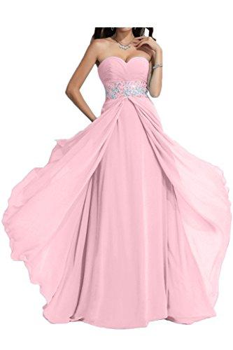 ivyd ressing Mujer Exquisite Corazón de recorte a de línea piedras fijo vestido largo Party Prom vestido para vestido de noche Rosa
