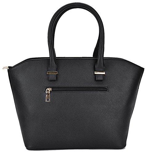 Pelle Moda in Pezzi Nere Pu a Donna Tracolla Borse nero Bag Borsetta Borse Coofit 3 nero Tote Borsa fqE8wYIx