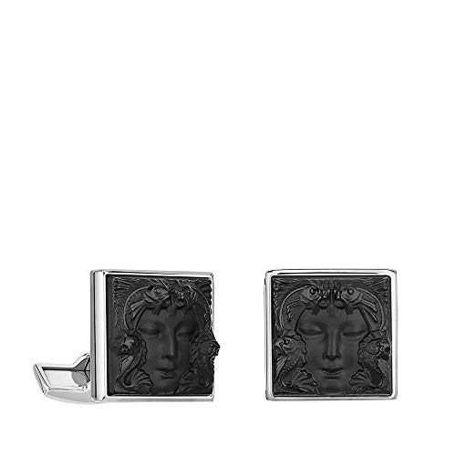 Lalique Crystal Black Arethuse Cuff Links #10603500