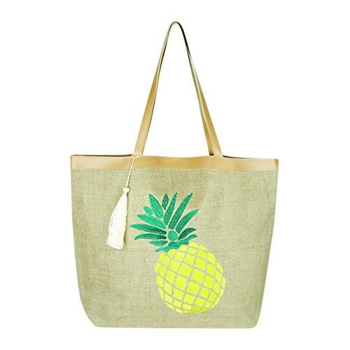 (Versatile Eco Fabric Shopper Beach Tote - Reusable School Shoulder Bag Pineapple, Flower, Skull, Llama Cute Animal Print (Embroidered Jute - Pineapple) )