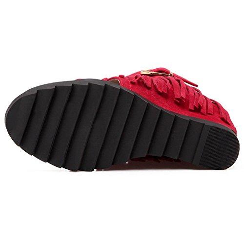 COOLCEPT Mujer Moda Ankle Wrap Sandalias Punta Abierta En aumento Zapatos With Cremallera Rojo