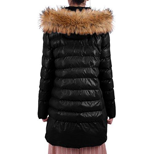Ceinture Ouatée Femme Veste Elastique Noir Mi Epais Capuche Ishine Avec Blouson Amovible long RTqPx4Fw