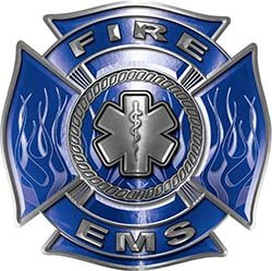 Fire EMS Maltese Cross Decal with Flames and Star of Life in Blue ()