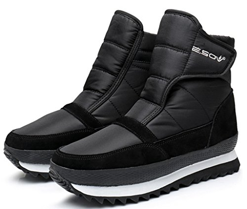 LabatoStyle Men Women Waterproof Winter Snow Boots Fur-Lined Flats Platform Sneaker Shoes
