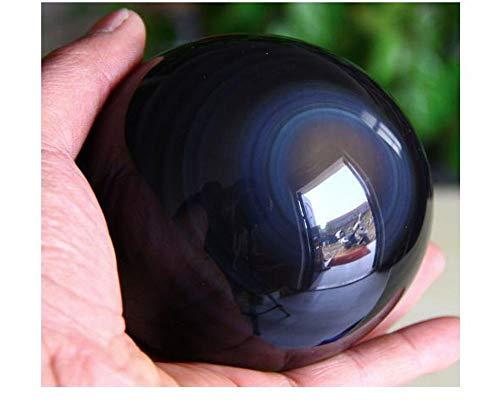 StoneStory Obsidian Coloured Eye Healing Crystal Natural Rock Crystal Quartz Gemstone Sphere Ball (Black Obsidian Rainbow Eye, 1.96