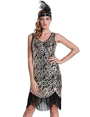 PrettyGuide Women's 1920s Sequin Paisley V Neck Fringe Hem Flapper Great Gatsby Dress