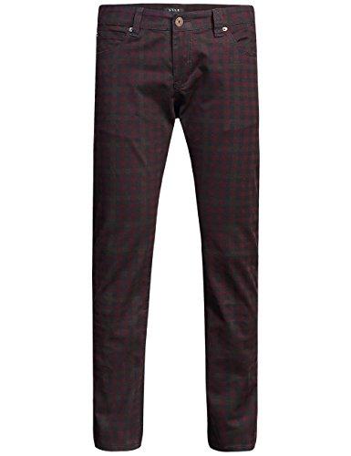 SSLR Men's Checkered Straight Fit Denim Jeans (W34 x L32, Red ()