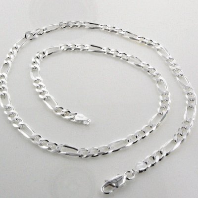 Diamond-Cut 6mm Wide Sterling Silver 36'' Figaro Chain Necklace Italian(Lengths 16'',18'',20'',22'',24'',30'',36'')