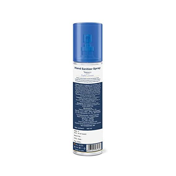 Yardley London English Lavender Hand Sanitizer spray, 140 ml(Pack of 3)