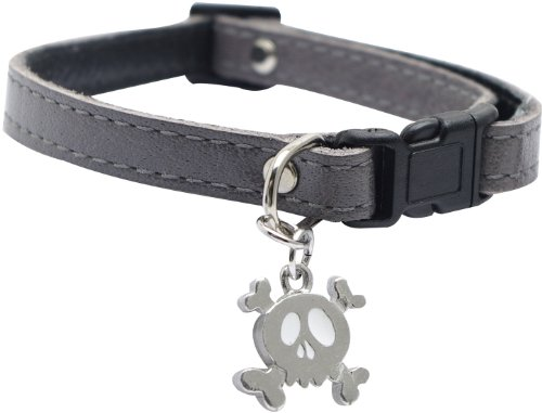 Dogit Leather Style Adjustable Dog Collar with Buckle and Pewter Skull Charm, 9-14-Inch, Gray, My Pet Supplies