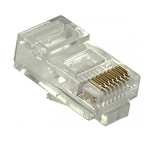 (RJ45 CAT5 E Modular Connector Plug 50 Pack Gold 8 Position RJ-45 Audio Data Signal Snap-In Telephone CAT 5E & CAT5E Computer Network Line Connectors, Ideal Type, Contractor Grade Plugs)