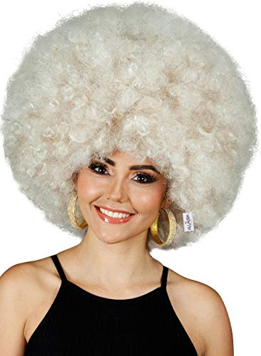 Deluxe 70s Afro Wig Women - Huge Blonde Jumbo Afro Disco Costume Wigs 70's Costumes Accessories. Fits Adults Men ()