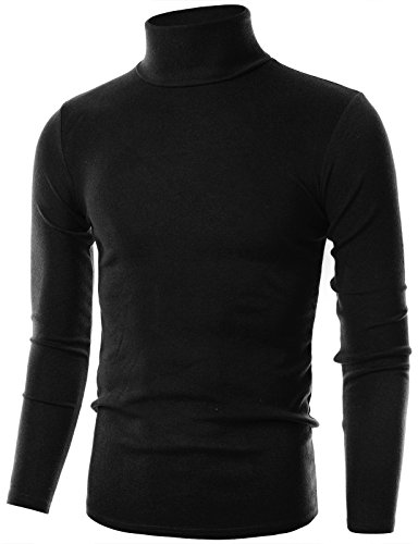 Ohoo Mens Slim Fit Flice Long Sleeve Pullover Flice Turtleneck /DCT005-BLACK-M ()