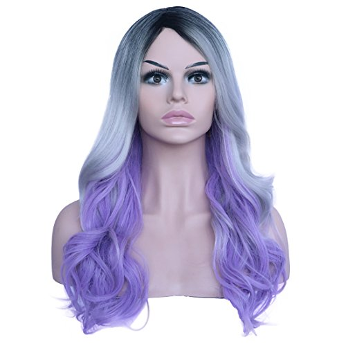 Touch Of Romance Halloween Costumes (BESTUNG Long Curly Hair Heat Resistant Synthetic Multi-Color Black White Purple Ombre Cosplay Wigs for Black Women Romance Curl Party Costume Wig)