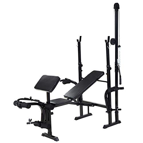 Price comparison product image KCHEX>>>Adjustable Weight Lifting Flat Bench Rack Set Fitness Exercise Body Workout New>Build and Define Your Body Heavy-Duty Construction for Stability Strong 2 in 1 Rack & Bench Set for Barbell